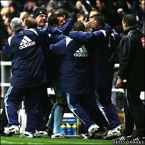 Newcastle celebrate Habib Beye's winner