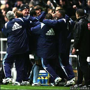 Newcastle celebrate Habib Beye's winner
