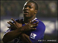 Everton goal hero Yakubu celebrates his third goal against Fulham