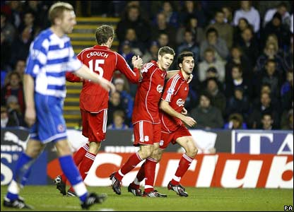 Liverpool celebrate equalising against Reading