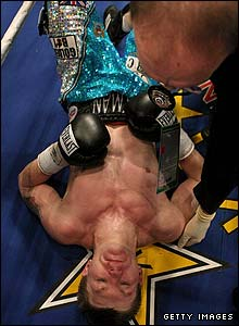 Hatton lies on his back after being knocked out in round 10