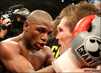Hatton is congratulated by the victorious Mayweather