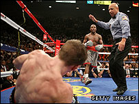 Hatton is floored by Mayweather