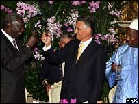 Predsednici Gane i Portugala, Kufor i Silva i predsedavajući AU Konare