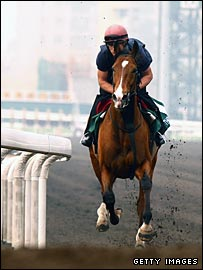 Dylan Thomas works out at Sha Tin ahead of the race on Friday