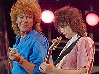 Led Zeppelin's Robert Plant and Jimmy Page at Live Aid in 1985