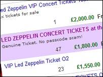 Entradas de Led Zeppelin en eBay