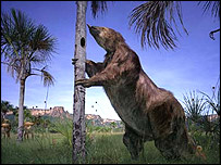 Artist's impression of giant ground sloth (BBC)