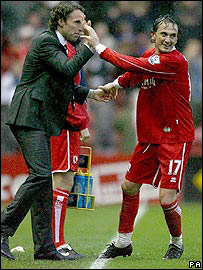 Boro boss Gareth Southgate (left) and Tuncay Sanli celebrate after the striker put the side 2-0 up against Arsenal