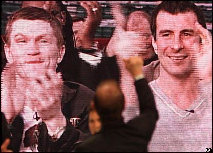 Ricky Hatton and Joe Calzaghe applaud Enzo Calzaghe