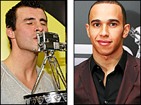 Joe Calzaghe and Lewis Hamilton