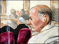 Court artist's impression of Robert Pickton, 22 January 2007