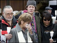 Victims' relatives outside the court after the Pickton verdict was announced