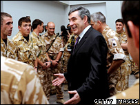 Gordon Brown with troops