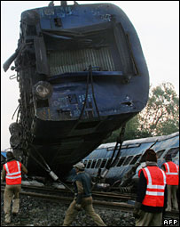 A derailed coach of the Brahmaputra Mail after the accident