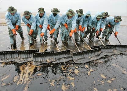 South Korean soldiers shovel oil at the Mallipo beach