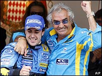 Fernando Alonso with Renault team boss Flavio Briatore after winning the 2006 Monaco Grand Prix