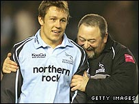 Steve Black (right) with England fly-half Jonny Wilkinson
