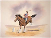 A painting of Thomas Ap Harri on horseback