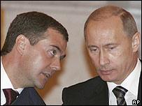 Dmitry Medvedev with Vladimir Putin