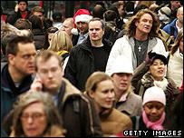Christmas shopping crowds