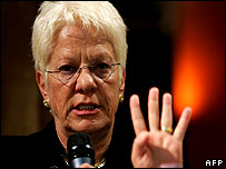 Chief UN prosecutor Carla Del Ponte speaks during a Balkans Crossroads meeting organized by the Friends of Europe 04 December 2007, in Brussels
