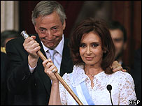 Cristina Kirchner and her husband, Nestor