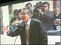Alberto Fujimori speaking in court