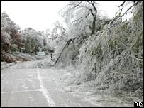 Fallen trees covered in ice block the roadway near Oklahoma City on Monday 10 December