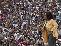 Oprah Winfrey addresses the crowds at Williams-Brice Stadium, South Carolina