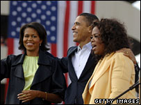 Michelle and Barack Obama with Oprah Winfrey at a rally in South Carolina