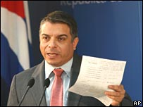 Cuban Foreign Minister Felipe Perez Roque talks to the press in Havana on Monday 10 December 2007