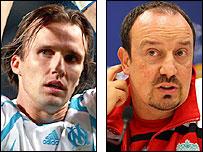 Boudewijn Zenden (L) and Liverpool boss Rafael Benitez