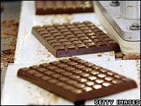 Cadbury's chocolate bars on the production line