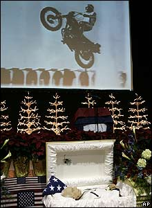Evel Knievel is laid in an open coffin for mourners to pay their respects