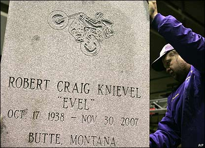 Large headstone for display at memorial service for Evel Knievel