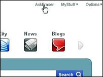 The AskEraser on the homepage