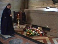 Abbot Cuthbert Brogan at the tomb of Napoleon III