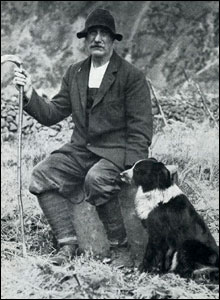 Sheila the dog, with farmer John Dagg. Picture courtesy of PDSA