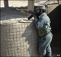 Afghan policeman on the outskirts of Musa Qala