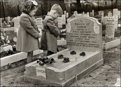 Two children stand at the grave of Simon the cat in the early 1950s. Picture courtesy of PDSA