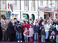 Crowds gather for the parade in Cardiff