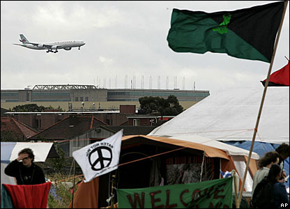 Climate change activists camping near Heathrow airport