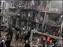Bomb-damaged UN building in Algiers, 11 December 2007