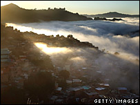 Fog and sunrise over Caracas, the capital of Venezuela