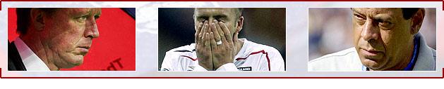 (L-r) Steve McClaren, David Beckham and Carlos Alberto