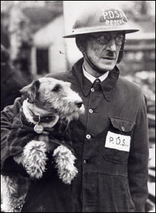 Beauty the dog with PDSA Supt Bill Barnett. Picture courtesy of PDSA