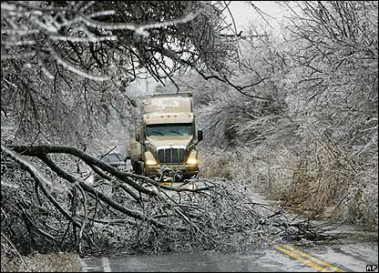 Fallen tree limbs after an ice storm in eastern Oklahoma County
