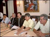 Five of the governors of the nine Bolivian provinces : Leopoldo Fernandez (Pando), Mario Cossio (Tarija), Manfred Reyes Villa (Cochabamba), Ruben Costas (Santa Cruz) and Ernesto Suarez Sat