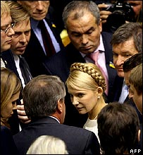 Yulia Tymoshenko with party colleagues in parliament
